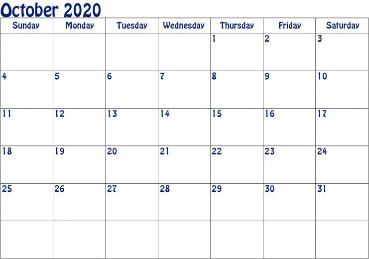 October 2020 Calendar PDF Monthly Calendars October calendar