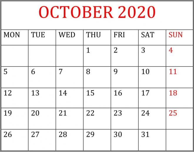 Printable October 2020 Calendar Desktop Wallpaper
