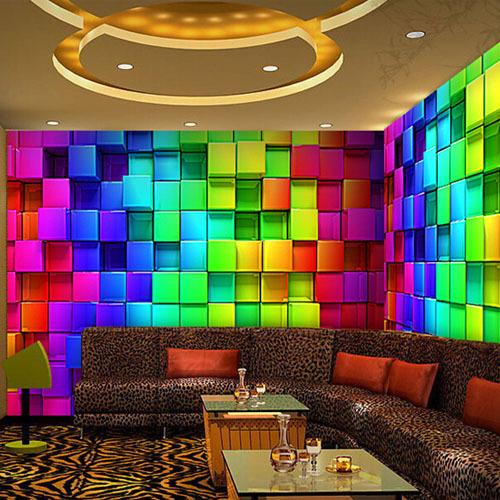 Wall Murals Wallpaper Reflectorised KTV Decorative Plaid Mural Wall