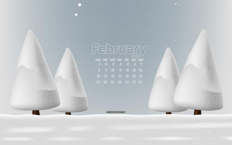 Download wallpapers 2021 February calendar 4k winter landscape