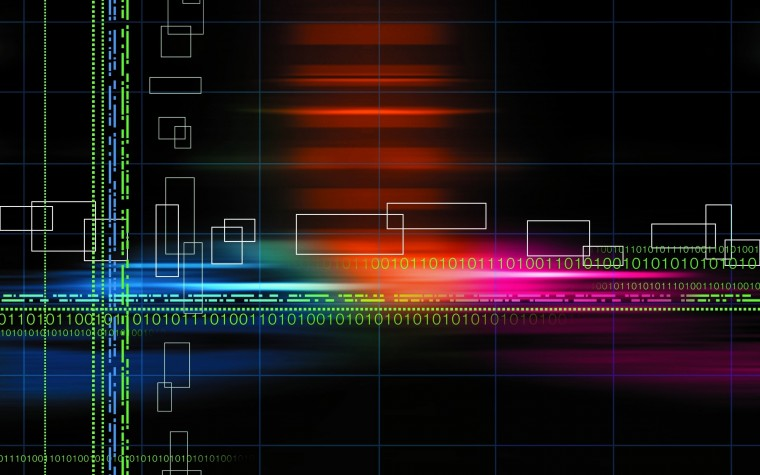 Wallpaper Abstract multicolor binary grid numbers black background