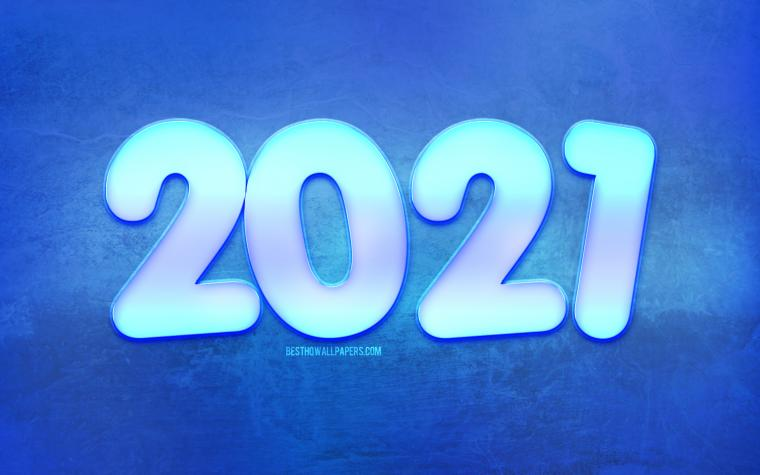 Download wallpapers 2021 New Year Winter blue background 2021