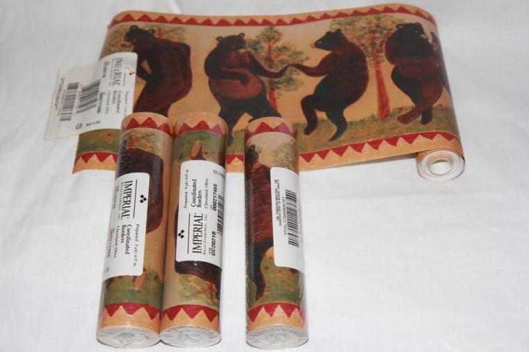 Lot Prepasted Wallpaper Border Dancing Bears Folk Rustic 4 Rolls