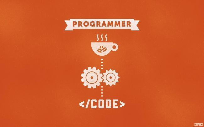 Programmer Orange Code Coffee Gears [The Paper Wall]