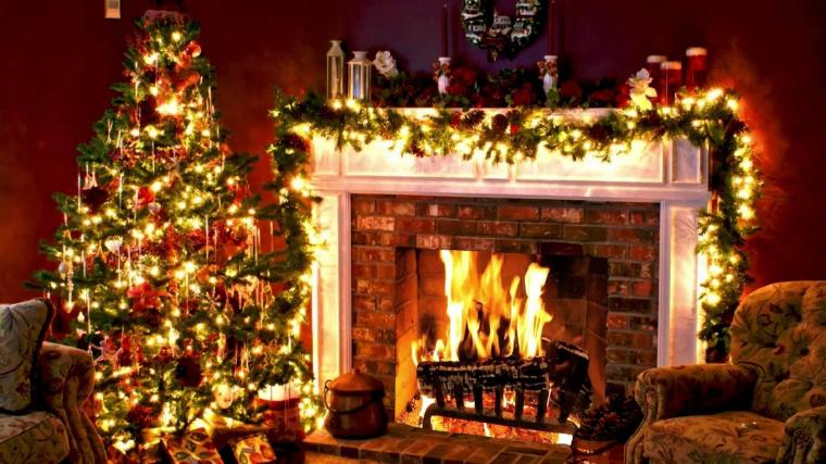 Holiday Christmas Holiday Christmas Tree Fireplace Wallpaper