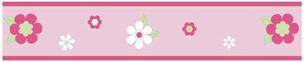 Kids Pink and Green Flowers Wallpaper Border for Girls Room or Nursery