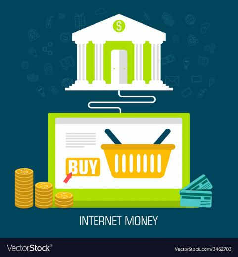 Flat internet money on laptop from bank background