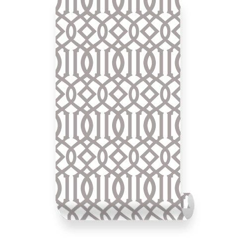 Large Imperial Trellis Pattern Grey PEEL STICK Repositionable Fabric
