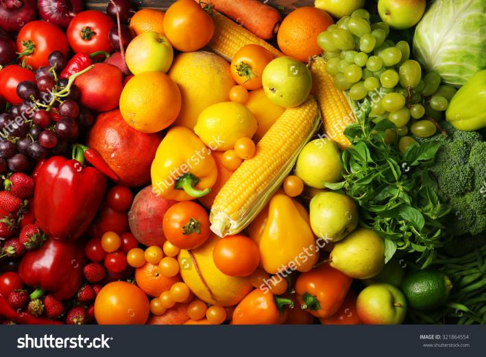 Colorful Fruits And Vegetables Background Stock Photo 321864554