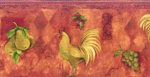 Red Rooster Fruit Wallpaper Border   Wallpaper Border Wallpaper
