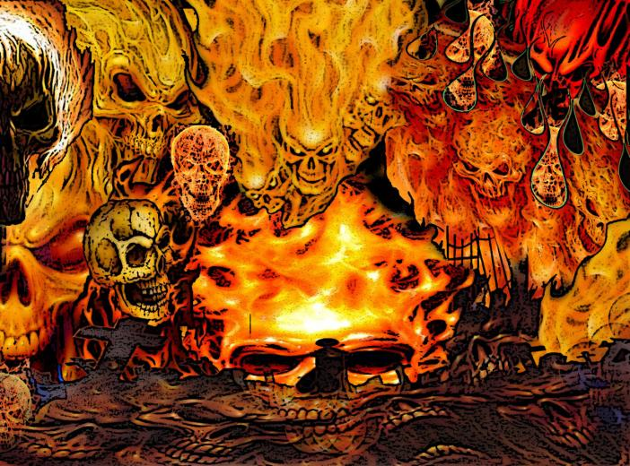 Flaming Demon Skull Wallpaper Fire demon skulls by fiendy