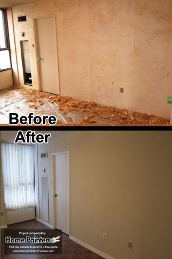 Removing wallpapers from an apartment in midtown Toronto and Painting