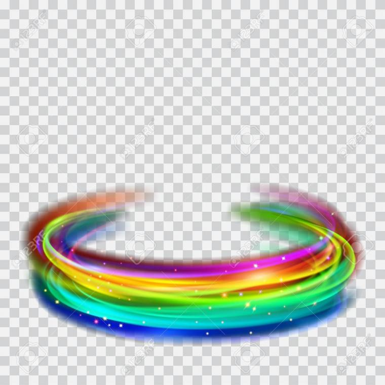 Multicolored Glowing Fire Rings With Glitter On Transparent