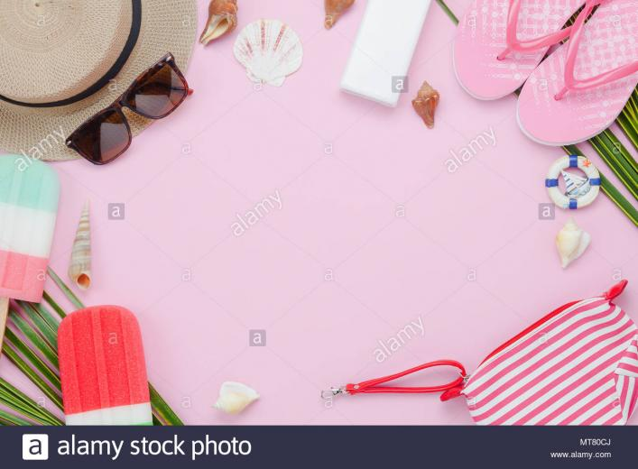 Table top view aerial image of fashion to travel in summer holiday