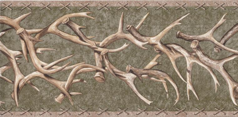 Details about Wallpaper Border Lodge Style Deer Antlers On Green Faux