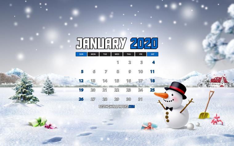 Download wallpapers January 2020 Calendar 4k snowman winter