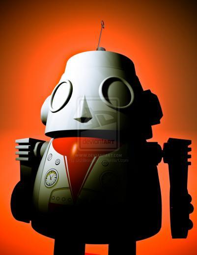 Retro Robot Art Retro cropped toy robot 01 by