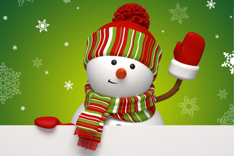 Winter snowman snowflakes green holiday new year christmas