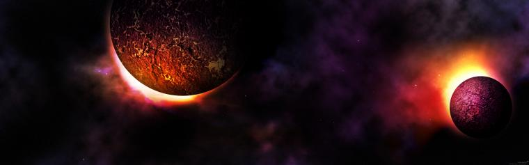 dual screen planet wallpaper by mirako hikaru customization wallpaper