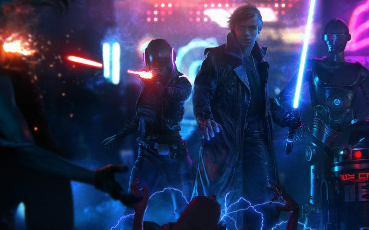 Luke Skywalker Star Wars Cyberpunk Lightsaber Ultrawide Wallpapers