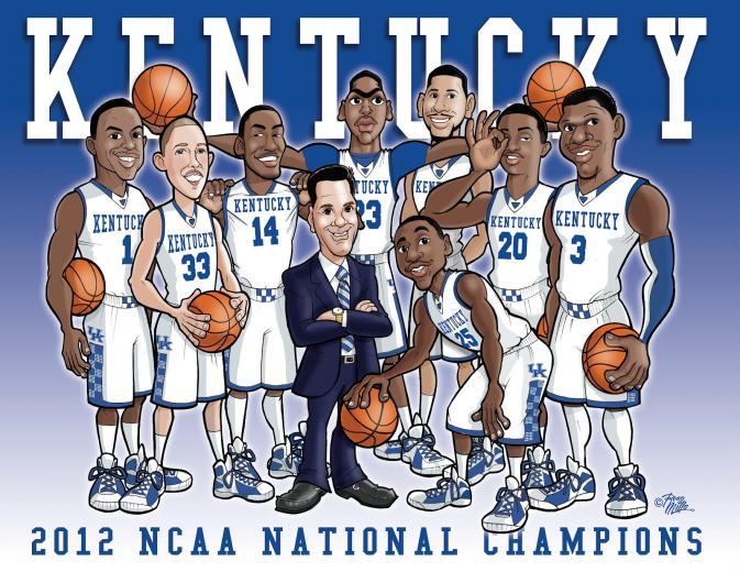 Russ Mills Art University of Kentucky Wildcats 2012 NCAA Basketball