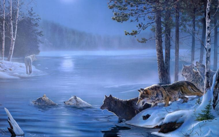 Dogs Paintings Light Art Wolf Rivers Night Wolves Lakes Moon