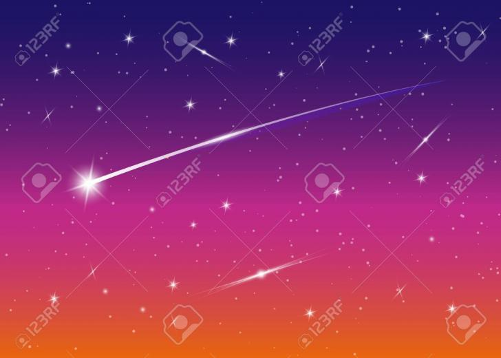 Shooting Star Background Against Dark Blue Starry Night Sky