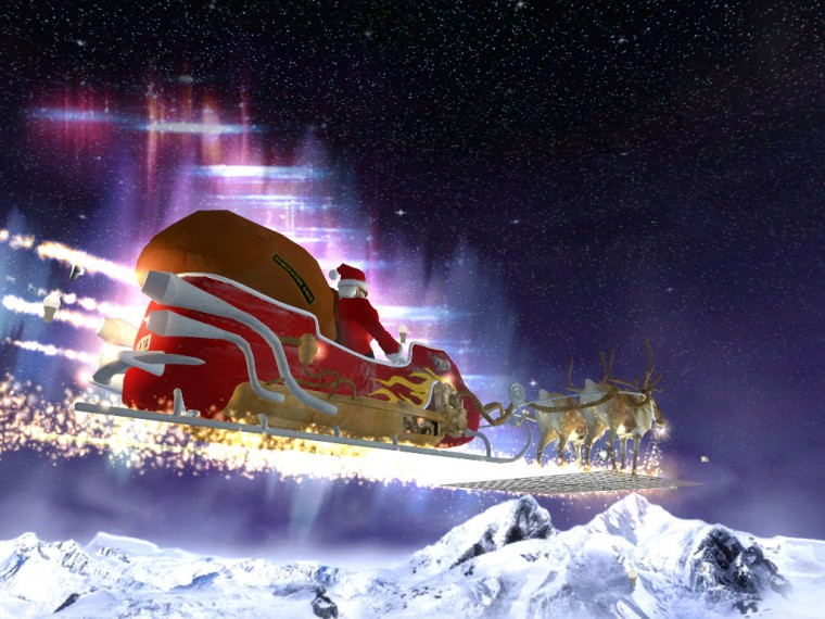 3D Santa Claus Sleigh photos of Best Christmas Theme Wallpaper for