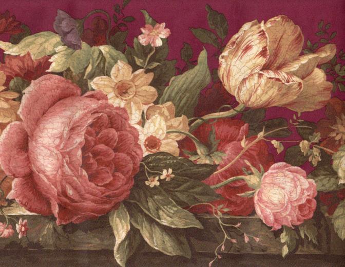 Burgundy Crackle Cabbage Rose Tulip Floral Flower Wall Paper Border