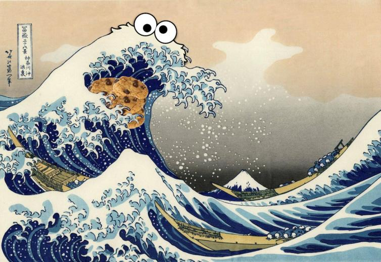 Traditional Japanese Painting Cookie Monster Wallpaper 1800x1241