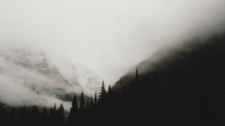 Black and white mountains wallpaper forests trees foggy mountains