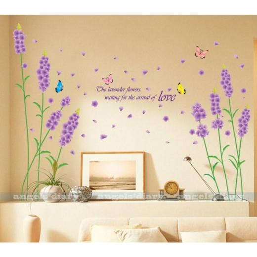 Purple Lavender Wall Sticker Decal Home Room Decor Removable Wallpaper