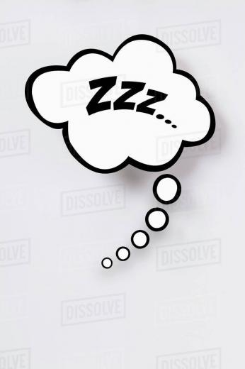 Snoring sign in thought bubble against gray background   Stock