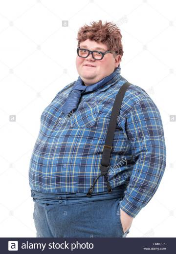 Overweight obese country yokel on white background Stock Photo