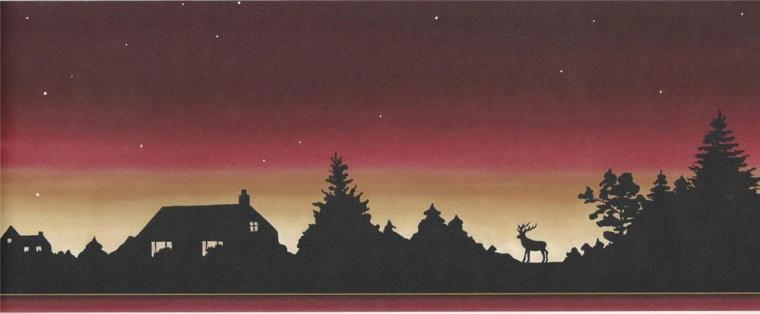 Wallpaper Border Lodge Log Cabin Moose Sunset Silhouette Stars at