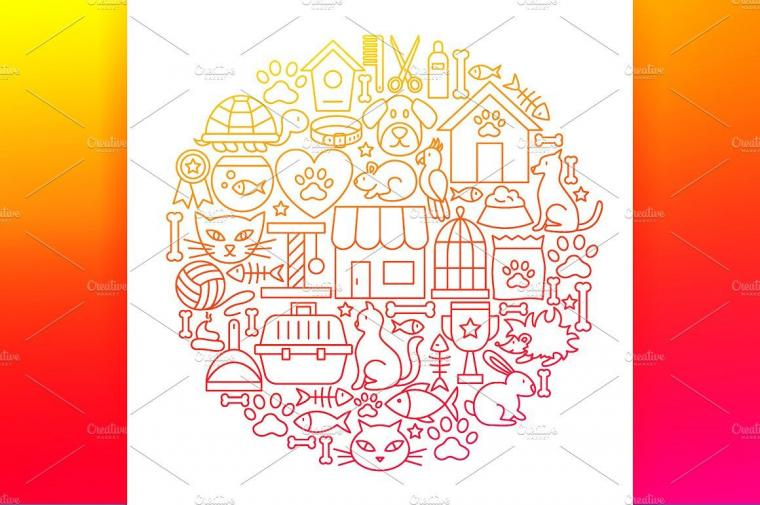 Pet Vet Line Art Icons includesBundlebackgroundsposters