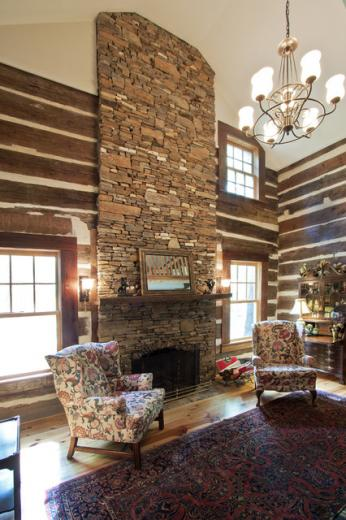 Log cabin Family room rustic family room