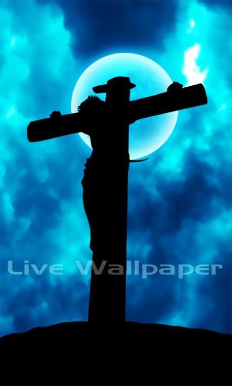 description live wallpaper jesus on cross live wallpaper moving blue
