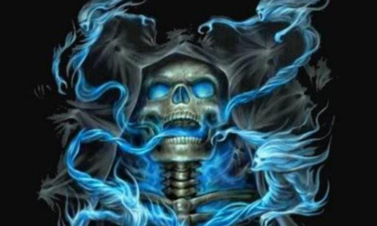 Blue Flame And Skull Wallpaper for Nokia N900   Hellaphone