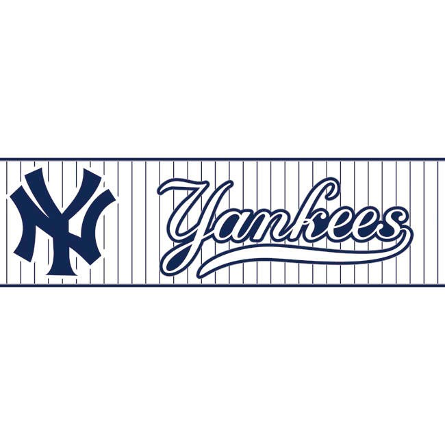 Dark Blue White ZB3308BD Yankees Pinstripe Wallpaper Border