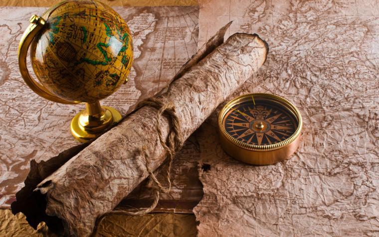 Treasure Hunter Map And Compass Wide 25601600 110216 HD Wallpaper