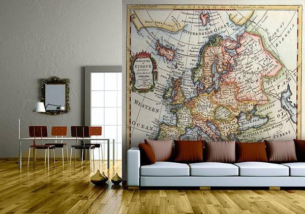 Map Wallpaper In Interior Design InteriorHoliccom