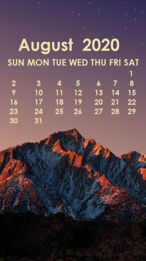 August 2020 iPhone Wallpaper Calendar wallpaper August