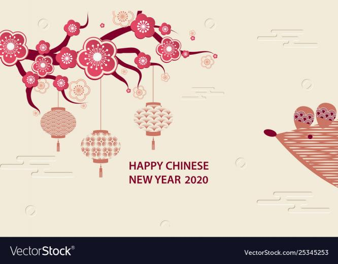 Happy hinese new year 2020 Royalty Vector Image