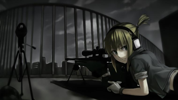 anime anime girls material sniper 1600x900 wallpaper Art HD Wallpaper