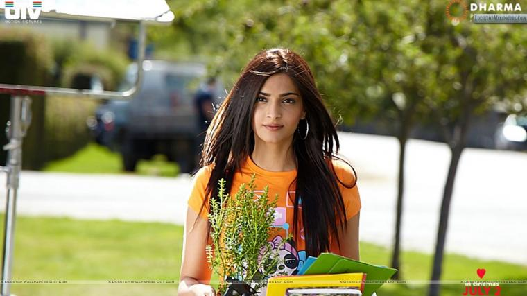 Sonam Kapoor in Orange Top I Hate Luv Story Movie Wallpaper