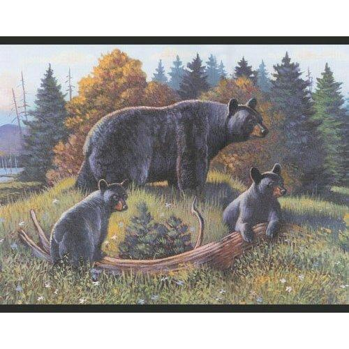 Black Bear and Cubs Lodge Wallpaper Border Log Cabin