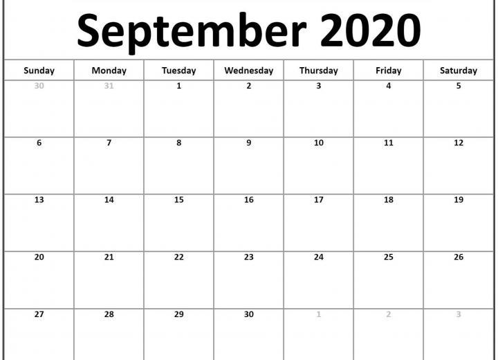Awesome September 2020 Calendar PDF Word Excel Printable Template