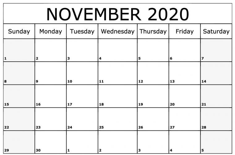 November 2020 Calendar Printable Template Printable calendar