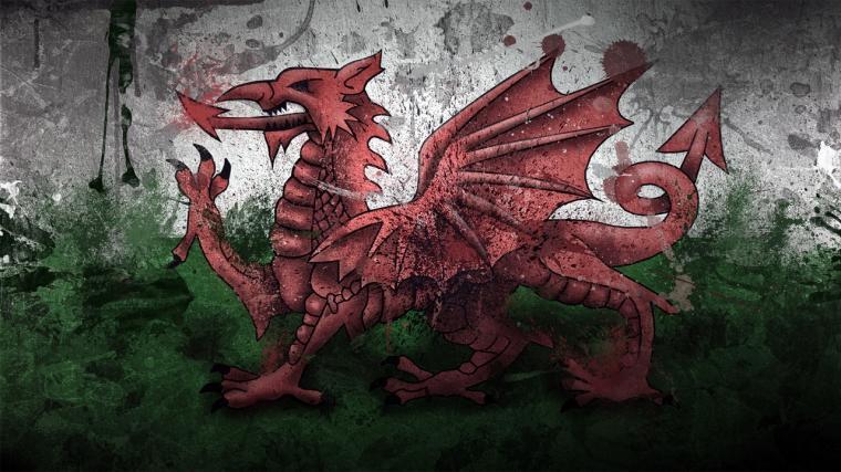 Download wallpaper 1280x720 wales dragon symbol flag paints